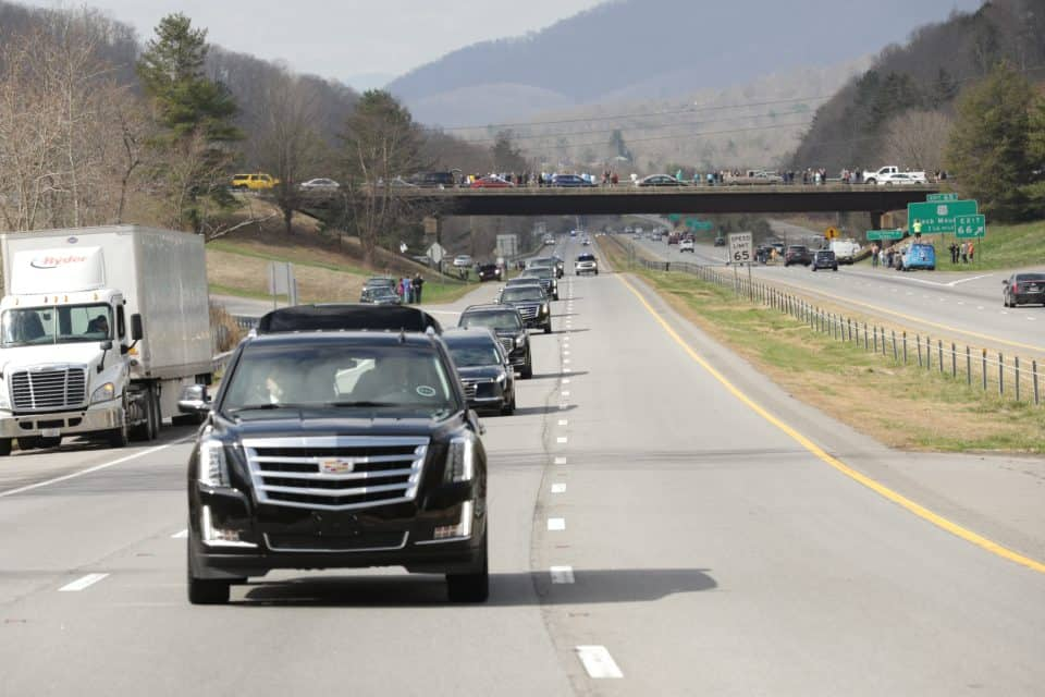 """The outpouring of love we are seeing as we travel from Asheville to Charlotte via the motorcade with my father Billy Graham is overwhelming,"" Franklin Graham shared on Twitter. ""People lining the streets, the overpasses—Thank you."""