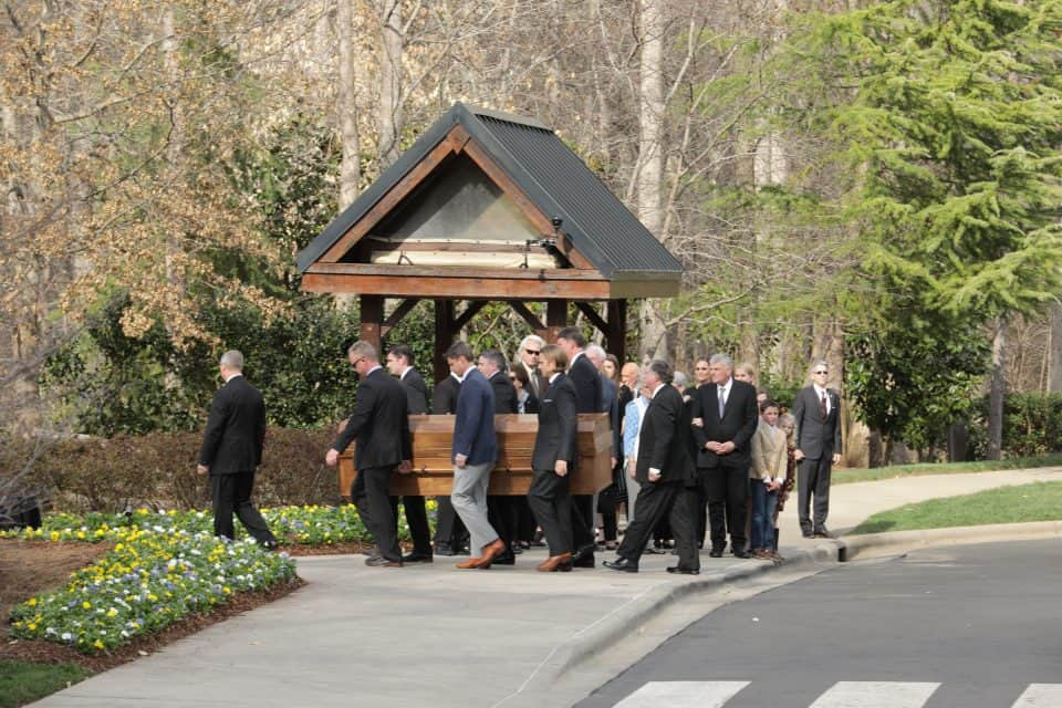 Billy Graham's family was there as his grandsons carried his casket into the Billy Graham Library. The Library is currently closed, but the public is invited to visit the property on Monday and Tuesday, Feb. 26 and 27 as Mr. Graham lies in repose.