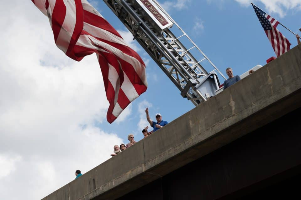 Fire stations from across the region were set up on the overpasses to honor Billy Graham.