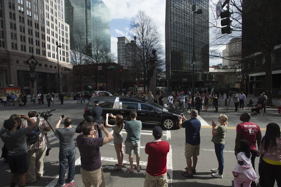 Trade and Tryon Streets—the center of Charlotte, North Carolina.