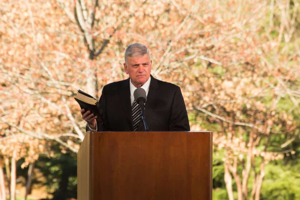 """There weren't two Billy Grahams,"" Franklin Graham shared as he reflected on his father's life and delivered the message of God's love. ""He loved his family. He stood by us. … He left us an enduring legacy: his uncompromising testimony of God's great love."""