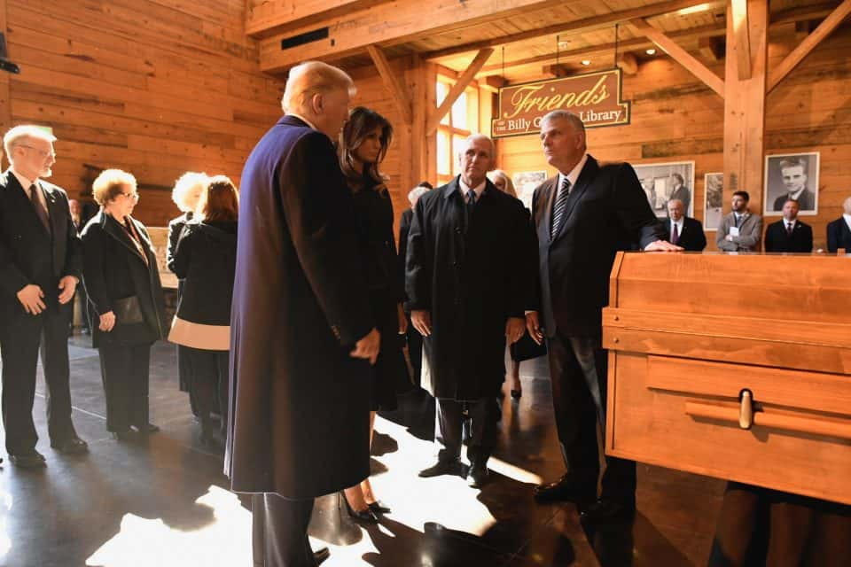 President Donald Trump, first lady Melania Trump, Vice President Mike Pence and second lady Karen Pence visited with Franklin Graham and his family before the service. During his ministry, Billy Graham was considered a pastor to the United States presidents.
