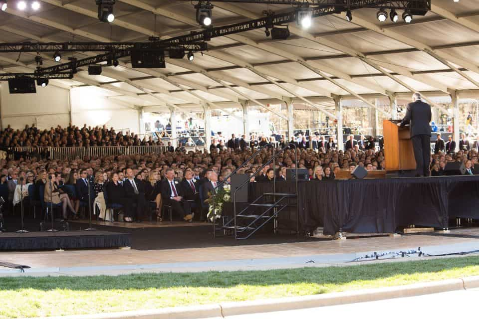 "Family and friends—in total about 2,300 gathered for the private, 90-minute funeral service under a massive white tent in the parking lot of the Billy Graham Library. The tent was reminiscent of how Mr. Graham's ministry started under ""The Canvas Cathedral"" in 1949 when he held his first landmark Crusade in downtown Los Angeles."