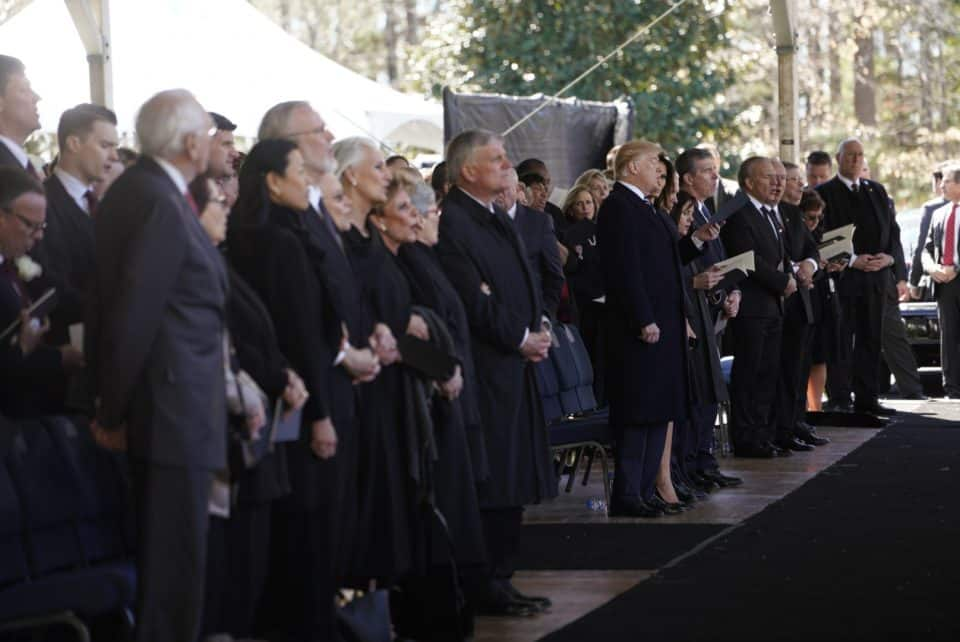 Billy Graham Crusades were known for their mass choirs. On Friday, 2,000 funeral guests including the President and Vice President of the United States sang hymns led by former Crusade choir director, Tom Bledsoe.
