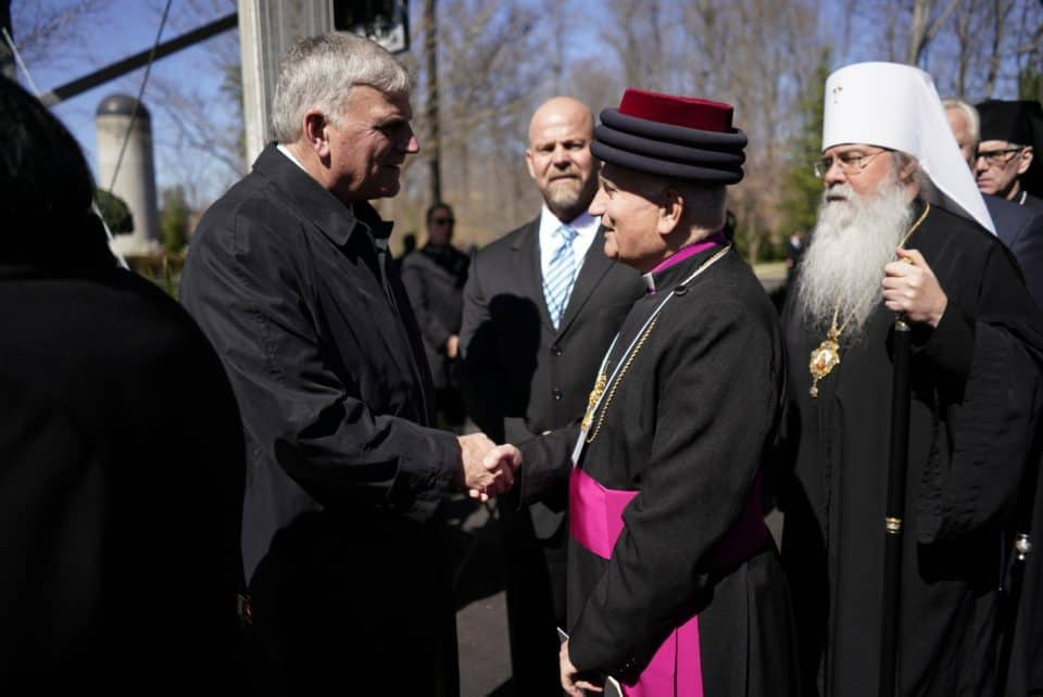 Franklin Graham talks with His Grace Archbishop Mar Aprim Khamis and His Beatitude Tikhon, Metropolitan of All America (middle) and Canada Archbishop of Washington, Orthodox Church in America (right).