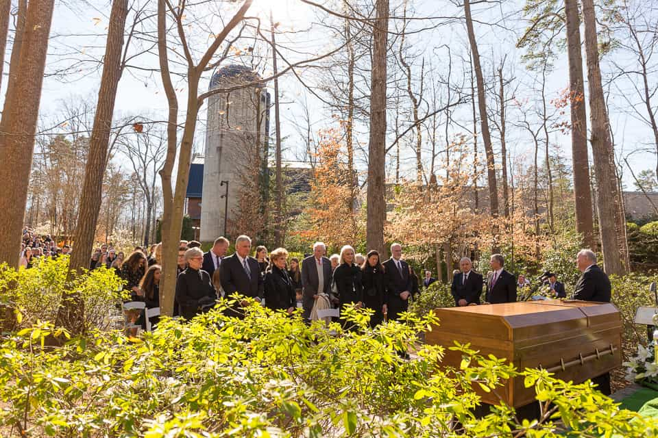 Billy Graham's body was buried next to his beloved Ruth Bell Graham in the Prayer Garden on the grounds of The Billy Graham Library in Charlotte, North Carolina.