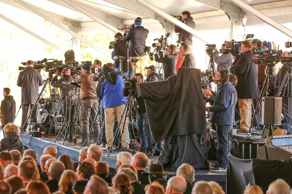 Media members from all over the world gathered to capture the private ceremony honoring the evangelist's life.
