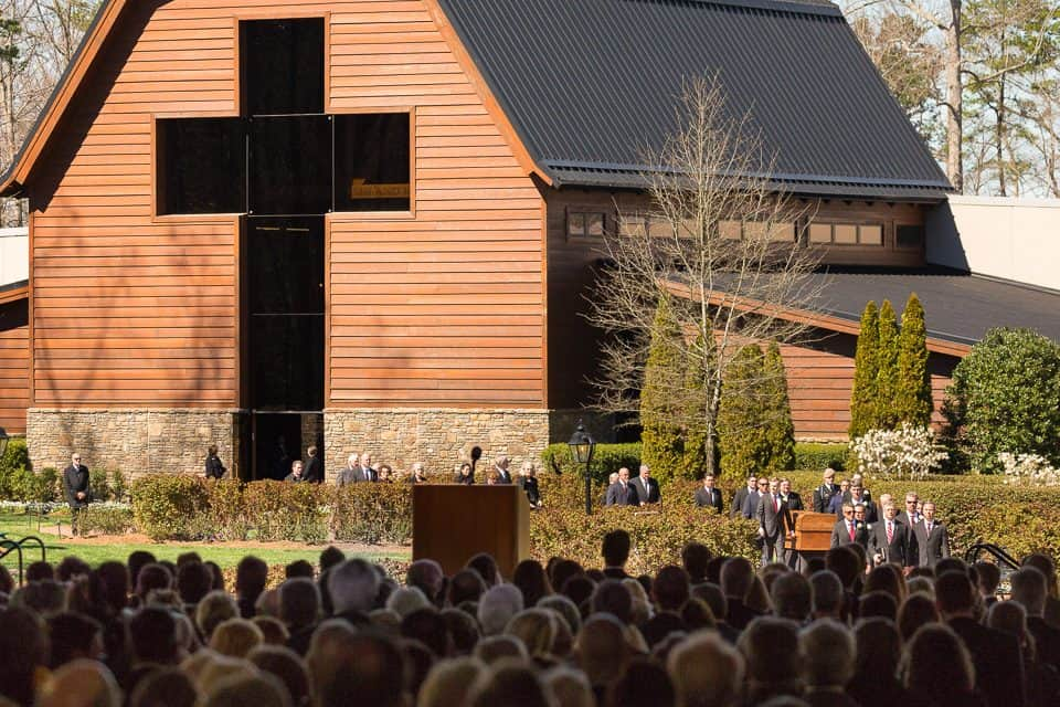 The funeral service began with the family exiting the Billy Graham Library at the foot of the cross. The Library will reopen to the public on Wednesday, March 7.