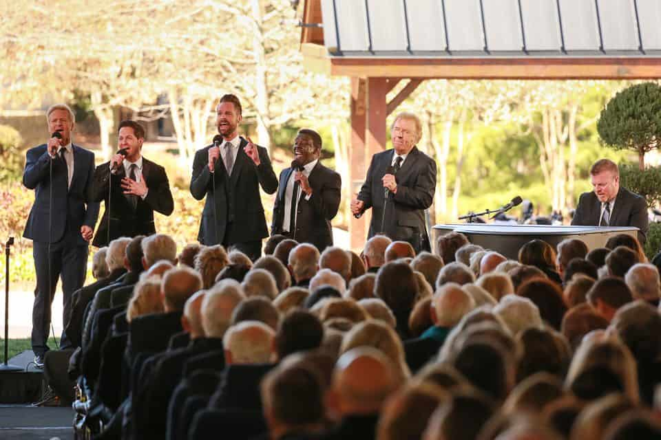 """The Gaither Vocal Band singing one of Billy Graham's favorite songs, """"Because He Lives."""""""