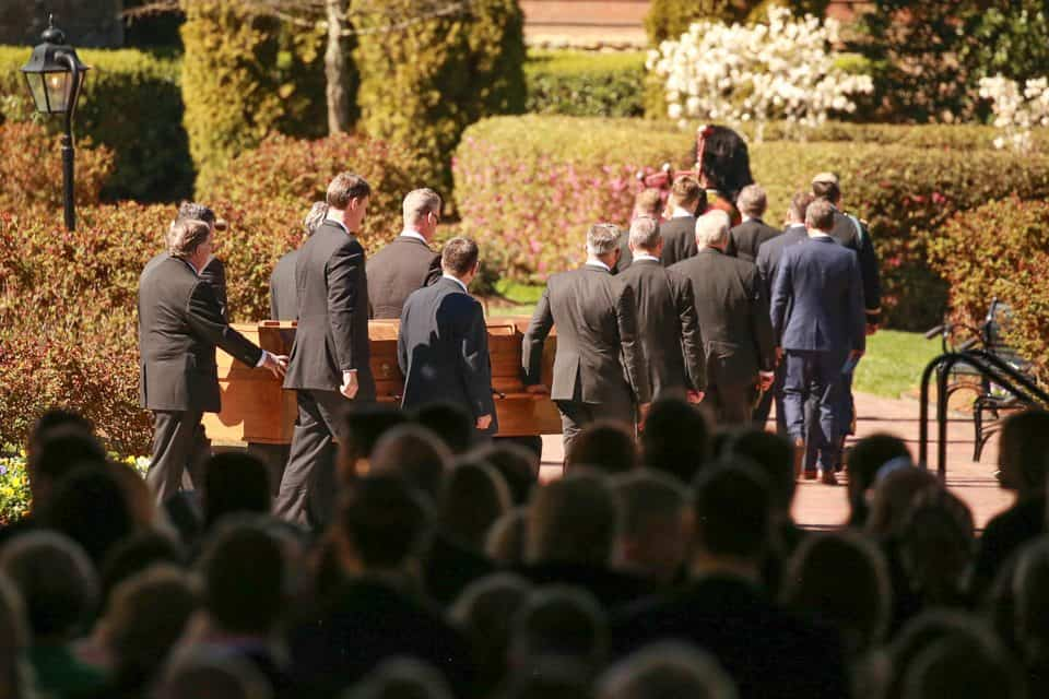 Mr. Graham's 12 grandsons served as pallbearers. They included Anne Graham Lotz's son Jonathan Lotz; Franklin Graham's sons Edward Graham, Roy Graham, Will Graham and son-in-law Corey Lynch; Gigi Graham's sons Antony Tchividjian, Basyle Tchividjian, Stephan Tchividjian and Tullian Tchividjian; Ned Graham's sons Alex Graham and Samuel Graham; and Ruth Graham's son Graham Dienert.