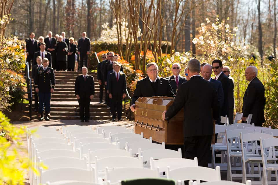 Mr. Graham's casket being carried to the interment service. He will be buried beside his wife, Ruth Bell Graham, who died June 14, 2007.