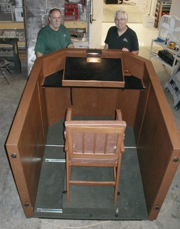 Billy Graham's final pulpit, which he preached from during the closing service of a Franklin Graham Festival in Baltimore on July 9, 2006. The pulpit was built by the maintenance team at the Billy Graham Training Center at The Cove and allowed him to sit or stand.