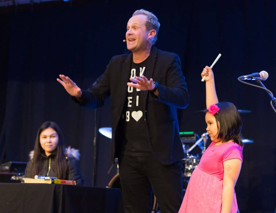 """Christian illusionist Jim Munroe entertained the Nunavut community with his show, """"The MAZE,"""" at the first night of the Rankin Inlet Celebration of Hope."""