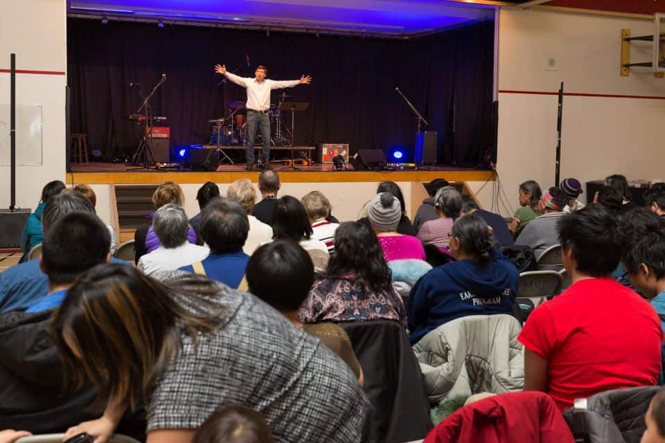 """""""God loves you. God loves you more than anything else in this world. He loves the people here in Rankin Inlet. … God has a plan and purpose for your life,"""" Will Graham encouraged the multi-generational crowd at the Friday night evangelistic event."""
