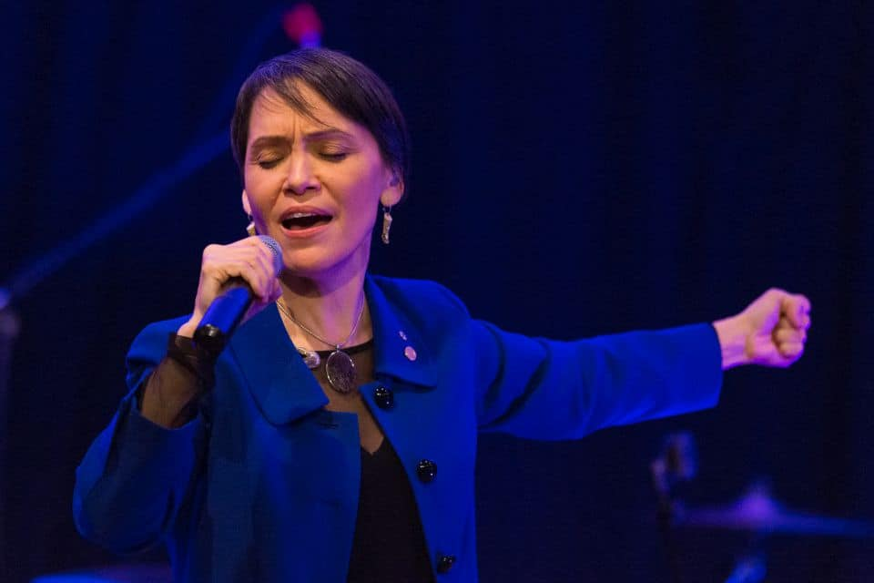 Juno Award-winning Nunavut singer Susan Aglukark led the crowd in worship.