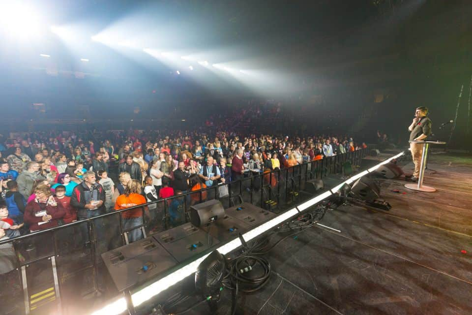 After Will Graham preached a kid-friendly Gospel message, children flooded the front stage area to make decisions for Christ.