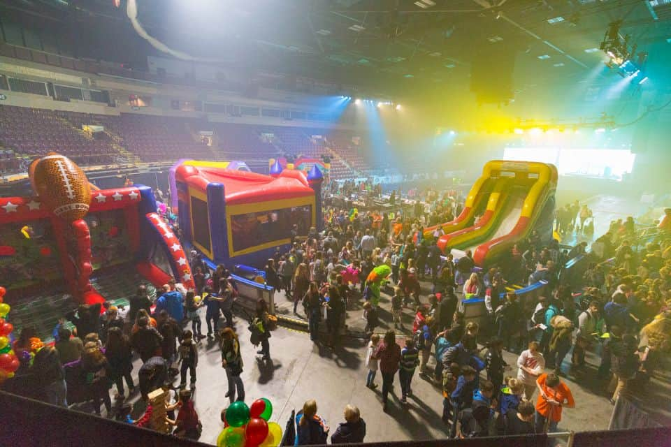 The KidzFest event at the Celebration of Hope included bouncy castles and games.