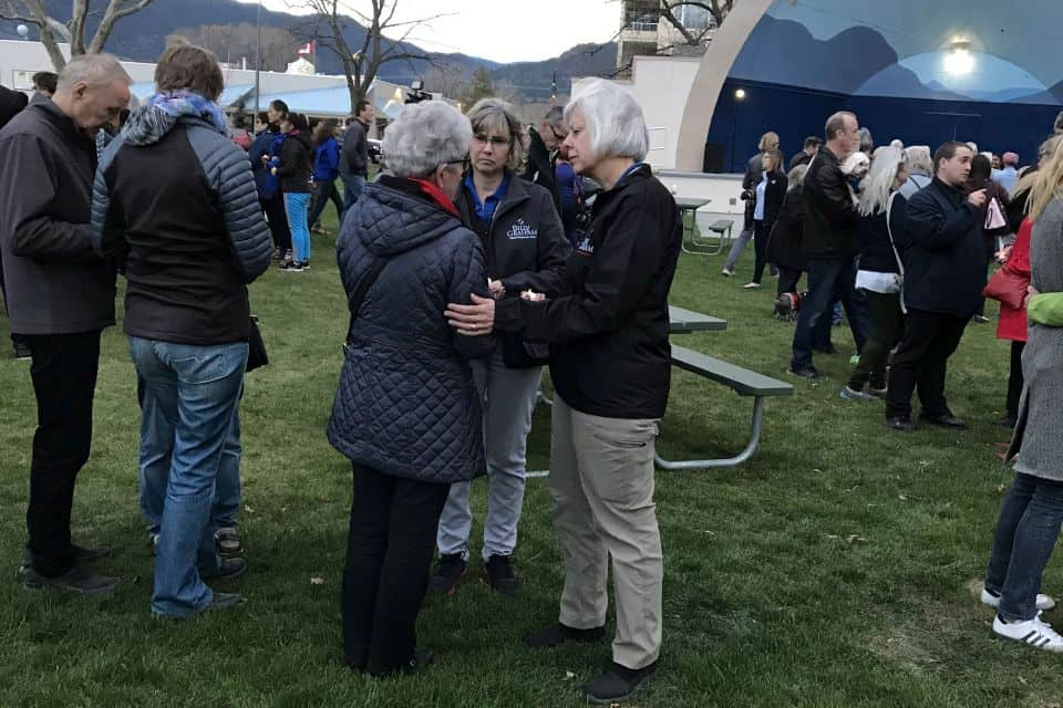Rapid Response Team chaplains provided emotional and spiritual care at a candlelight vigil on April 17 in Gyro Park in Penticton, BC.