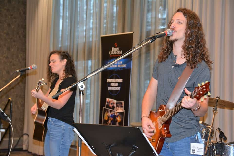 Celeste Zbirun (left) and her band led worship during the Canadian Law Enforcement Retreat.