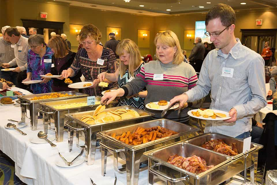 During Tuesday's event, Will Graham spoke on the Bible passage of Luke 9, when Jesus miraculously fed 5,000 people with just five loaves and two fish. This crowd also was able to experience a time of food and fellowship.