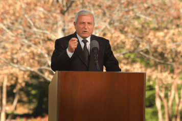 Sami Dagher's church in Beirut, Lebanon, was hard-hit by Tuesday's explosion. The Lebanon-born evangelist is a longtime friend of the Graham family, pictured here speaking at Billy Graham's funeral.